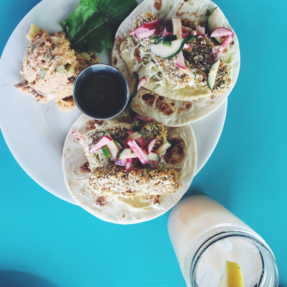 """The daily special """"fish"""" tacos and lavender lemonade hit the spot."""