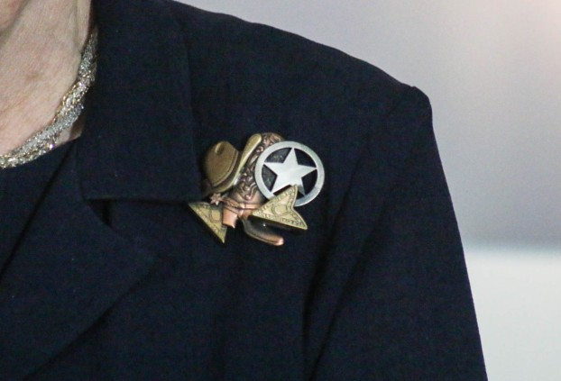 Her pin of choice in describing the event.