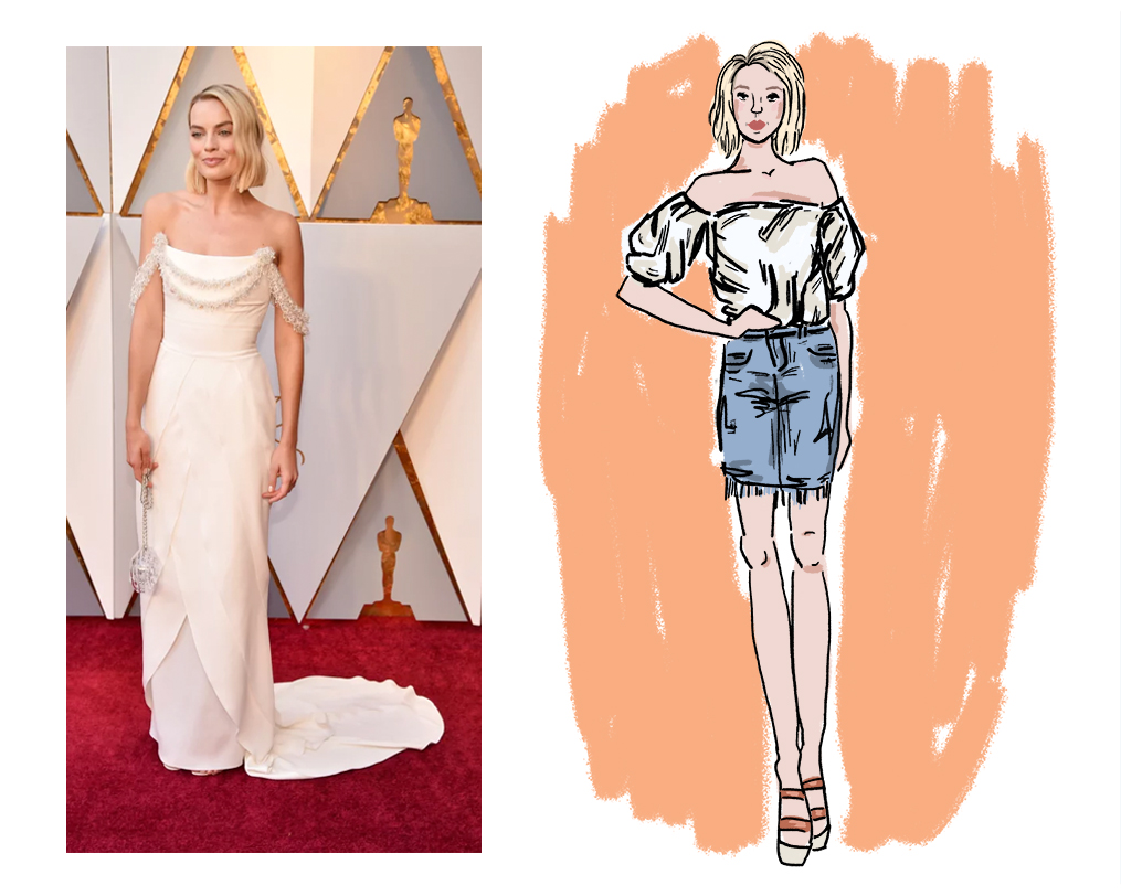 Jennifer Ellis writes about the Academy Awards red carpet looks and recreates the outfits along with graphics by Rachel Efruss