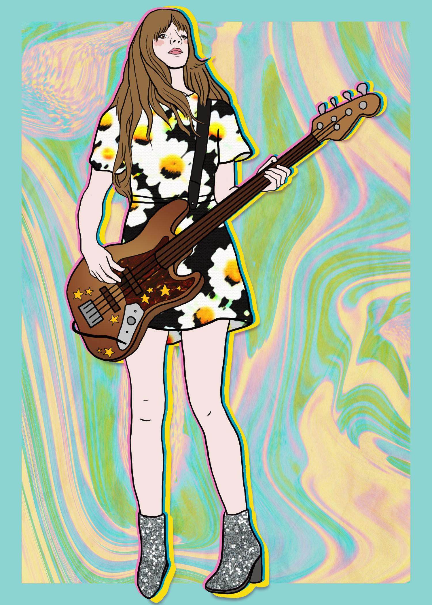vintage floral guitar boots illustration band austin spark