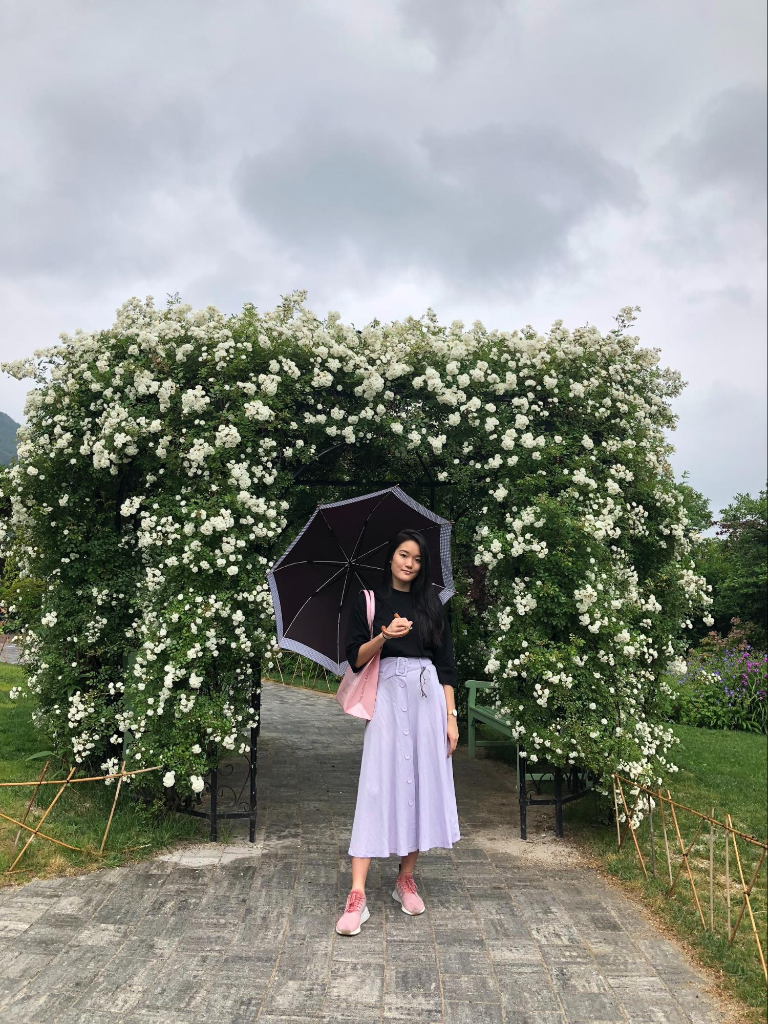 lilac flowers umbrella skirt zara korea western